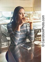 Pensive woman at the bar