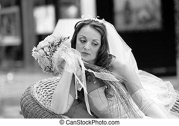 Pensive young bride