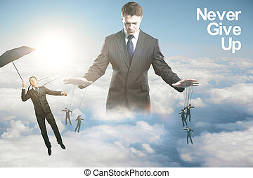 Manipulation concept - Pensive young businessman controlling...
