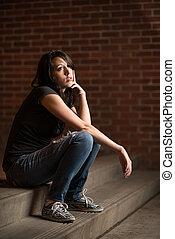 Pensive young girl