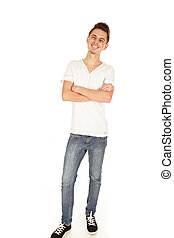 pensive young man isolated on a white background