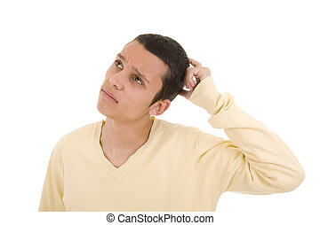 Pensive - Young man with a pensive expression looking up