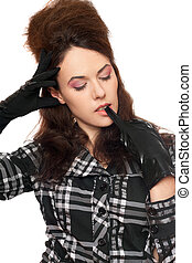 pensive young woman with closed eyes
