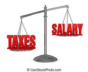 pensja, ważyć, podatki