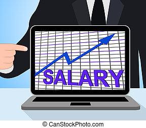 pensja, zarobić, bogactwo, dochód, wykres, wykres, gotówka, wzrastać, wystawy