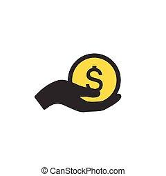 pensja, zarobić, dając pieniądze, concept., część, odizolowany, ilustracja, symbol., tło., wektor, pieniądze., tithing, ikona, biały, ręka, albo