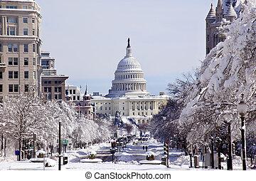 pensylwania, po, waszyngton, śnieg, na, dc, kapitał, aleja