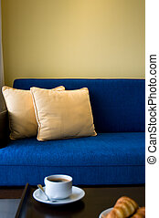 pent, maison, salle de séjour, à, beau, conception intérieur