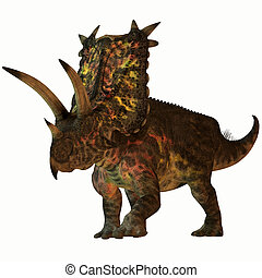 Pentaceratops on White - Pentaceratops was a herbivore...