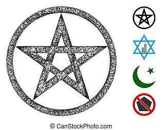 pentacle, 星, ベクトル, 網, 噛み合いなさい, イラスト