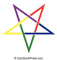 The ancient symbol the pentangle in bright colors over a white background