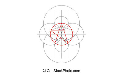 Pentacle magic sign red color. Drawn lines. Alpha channel....