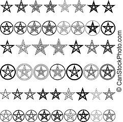 set of pentagrams - vector illustration
