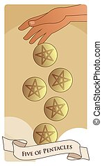 Five of pentacles. Tarot cards. Hand letting go five golden pentacles on clouds background