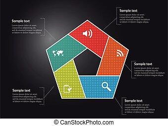 pentagon, abschnitte, gefüllt, muster, schablone, infographic