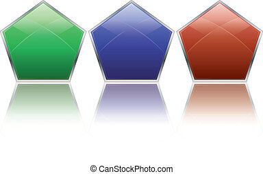 pentagon icon colored of green blue and red with reflection