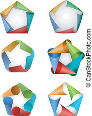 Pentagon icons - Vector illustration of colorful pentagon ...