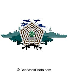 The building of the Pentagon - the US Department of Defense on the background of military equipment. The illustration on a white background.