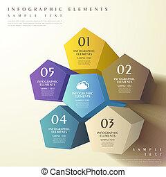 pentagonal, resumen, 3d, prisma, infographics