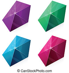 Pentagonal vibrant pyramid. - Color variation of pentagonal...