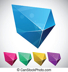 Pentagonal vibrant pyramid. - Color variation of pentagonal...