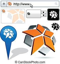pentagone, business, résumé, logo, design.