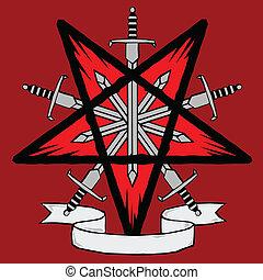 pentagram, épées, woodcut