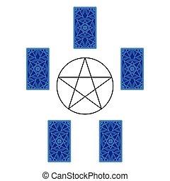 pentagram., 広がり, カード, 後退しなさい, 側, tarot