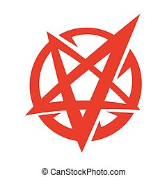 pentagram, 裏返された, 漫画, ロゴ, satanic, シンボル, スタイル, 星