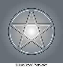 Pentagram, an occult sign in light