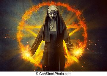 Pentagram And Devil Nun - Scary devil nun, with burning...