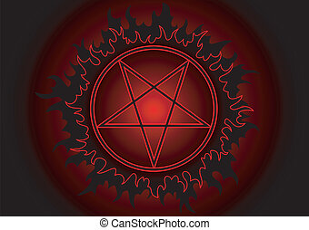 Pentagram - Black and red pentagram in circle with fire