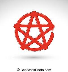 pentagram, borstel, tekening, pictogram, afgetaste, vectorized, hand, getrokken