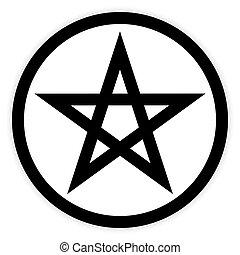 Pentagram button on white. - Pentagram button on white ...