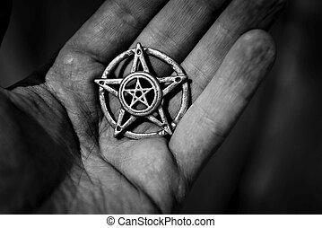 Pentagram closeup photo - Old steel Pentagram closeup photo...