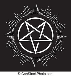 Pentagram dot work ancient pagan symbol - Inverted pentagram...
