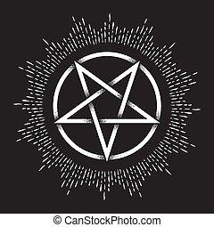 Pentagram dot work ancient pagan symbol - Inverted pentagram...