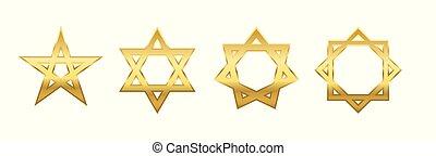 Pentagram Hexagram Heptagram Octagram Golden Stars -...
