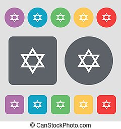 pentagram icon sign. A set of 12 colored buttons. Flat design. Vector