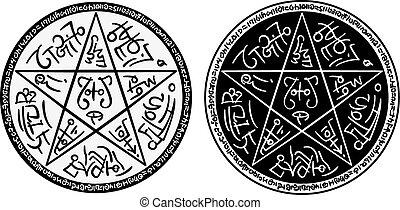 Pentagram - Illustration a fantasy pentagram with magic ...
