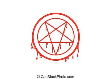 pentagram in circle vector