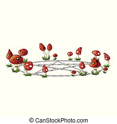 Pentagram lined with small stones in a clearing with fly agaric. Sketch for greeting card, festive poster or party invitations. The symbol of the religion Wicca. Vector