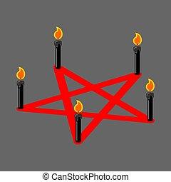 Pentagram of devil. Satan sign. Ritual symbol. Call daemon. Black candles. Vector illustration