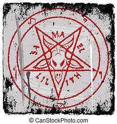 pentagram on grunge background