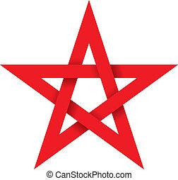 pentagram, rood, 3d
