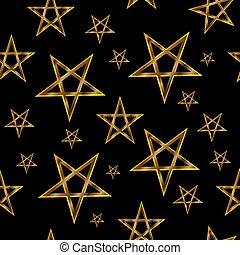Pentagram seamless pattern, magic occult star symbol, golden vector on black background,