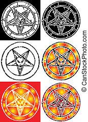 pentagram, segno, -, inferno