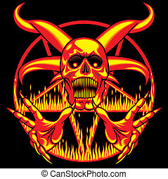 pentagram - sign of the hell on the dark background