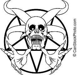 pentagram - sign of the hell in the black and white