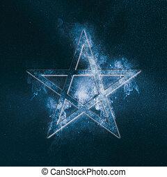 Pentagram symbol. Abstract night sky background.